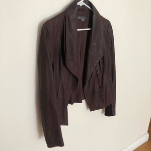 Vince. Burgundy Leather Scuba Jacket